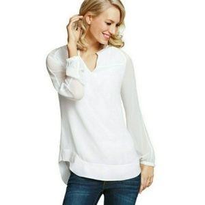 CAbi Allure Long Sleeve White Sheet Blouse Medium